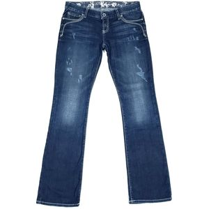 Guess 28 Dark Stretch Bootcut Jeans Button Flaps